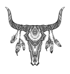 Bull skull with feathers Hand drawn sketch native vector image