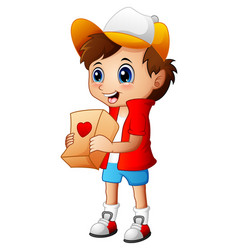 cartoon boy giving gift packages vector image