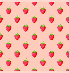 cartoon fresh strawberry fruits seamless pattern vector image