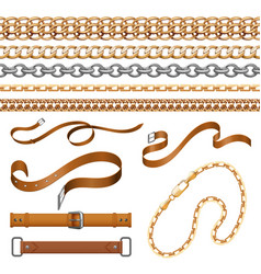 Chains and braids bracelets leather belts and vector