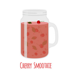 Cherry smoothie in mason jar glass with vegetarian vector