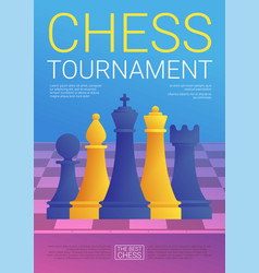 Chess tournament poster in cartoon style vector