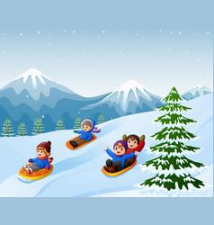 Children sledding snow downhill vector