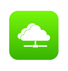 cloud computing connection icon digital green vector image