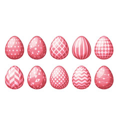 collection of eggs with geometric patterns happy vector image