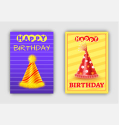 cone paper hats happy birthday postcards holiday vector image