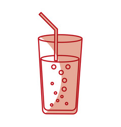 cup glass with straw icon vector image