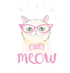 Cute cat designchildren for school books and vector