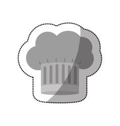 dotted sticker of chefs hat shading with stripeds vector image