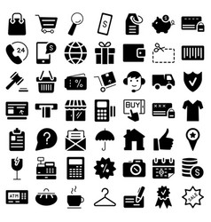 e-commerce flat web icons set symbols vector image