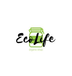 eco shop logo with green jar vector image