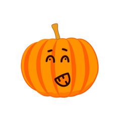 emotional cartoon pumpkin drawing vector image