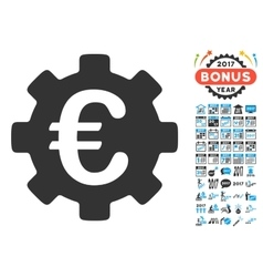 Euro Development Gear Icon With 2017 Year Bonus vector