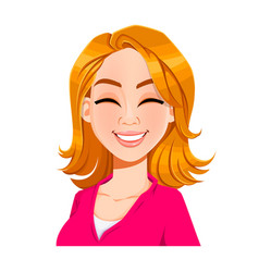 Face expression of beautiful woman laughing vector