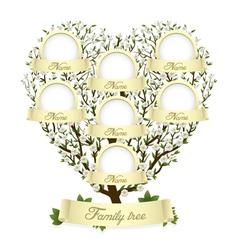 family tree in heart shape vector image