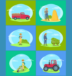 Farming person and lorry set vector