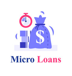 Fast cash and stopwatch small loans borrow money vector
