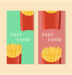 fast food banners with french fries graphic vector image