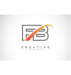Fb f b swoosh letter logo design with modern vector