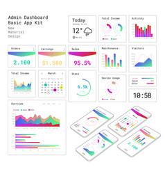 Flat design responsive admin dashboard ui mobile vector