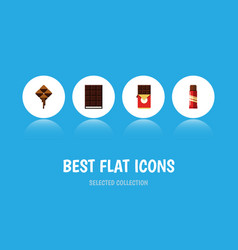 flat icon sweet set of chocolate bar delicious vector image