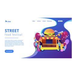 Food festival concept landing page vector