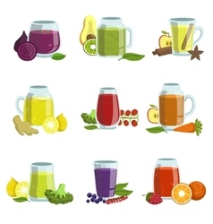 Fresh Smoothie Icon Set vector