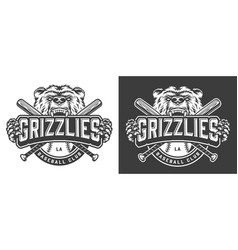 grizzly bear mascot vintage badge vector image