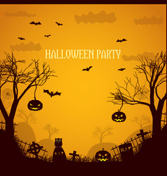 Halloween party orange poster vector