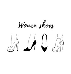 hand-drawn fashion collection of woman shoe vector image