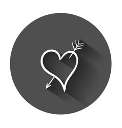 Hand drawn hearts icon love with long shadow vector
