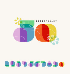 happy anniversary card or with retro numbers vector image