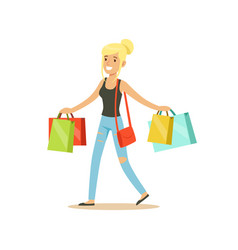 happy blonde woman in a casual clothes walking vector image