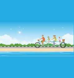 Happy family cycling tandem bicycle on beach vector