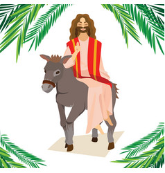 Happy religion holiday palm sunday before easter vector