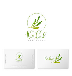 Herbal cosmetics logo green leaves business card vector