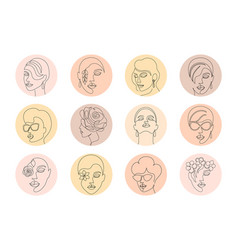 Highlight covers with women faces vector