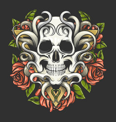 human skull with rose flowers on triangle shape vector image