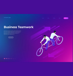 isometric competition businessman on bicycle vector image