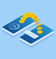 isometric money transfer online money wallet and vector image
