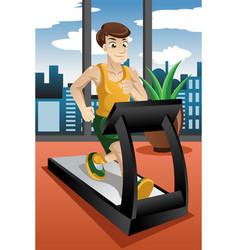 Man running on treadmill vector