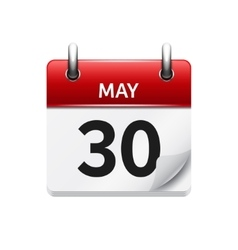 May 30 flat daily calendar icon Date and vector