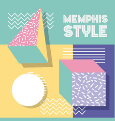 memphis style pattern retro 3d shapes geometric vector image