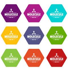 molecule energy icons set 9 vector image