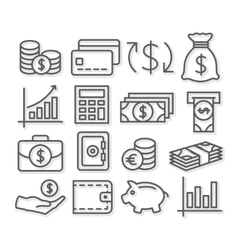 Money Line Icons vector