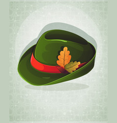 Oktoberfest hat with oak leaves vector