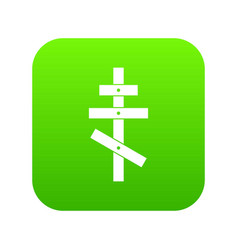 Orthodox cross icon digital green vector