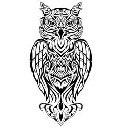 owl tattoo design vector image
