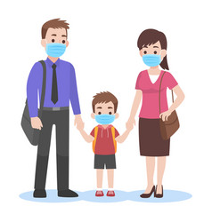 Parents take their children to school vector