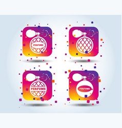 perfume bottle icons glamour fragrance signs vector image